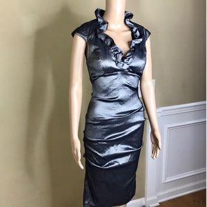 Dresses & Skirts - Formal Dress Short Sleeves Size 6 Metallic Gray
